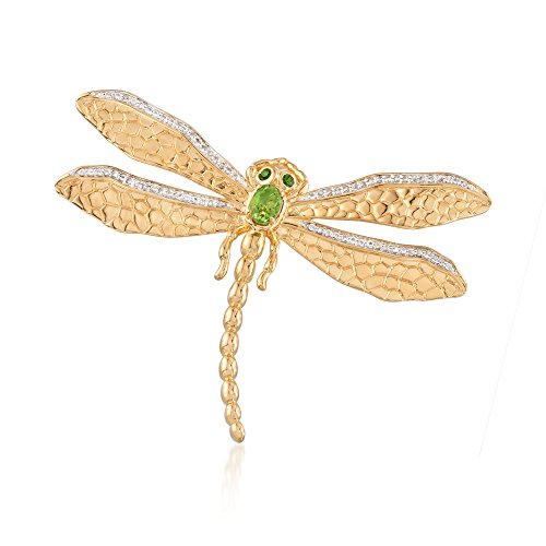 - Ross-Simons 0.88 ct. t.w. Multi-Stone Dragonfly Pin in 18kt Gold Over Sterling