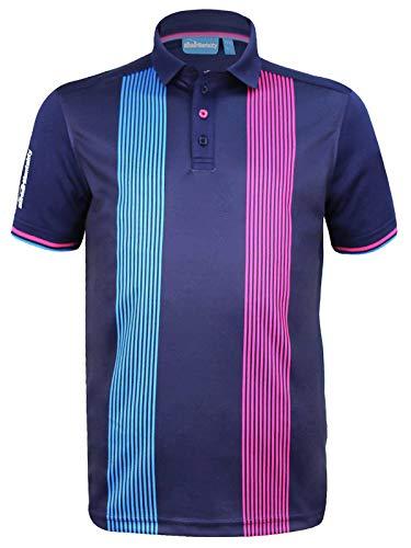 (CMAX Vertical Pinstripe Tech Golf Polo Shirt - Navy - US XL (Non)