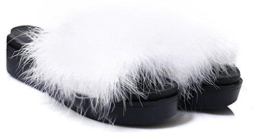 Plat Talon Blanc Plateforme Mode Aisun Fourrées Mules Femme wqpttIxZ