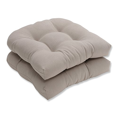 Pillow Perfect Indoor/Outdoor Beige Solid Wicker Seat Cushions, 2-Pack (Contour Chair Cushion)