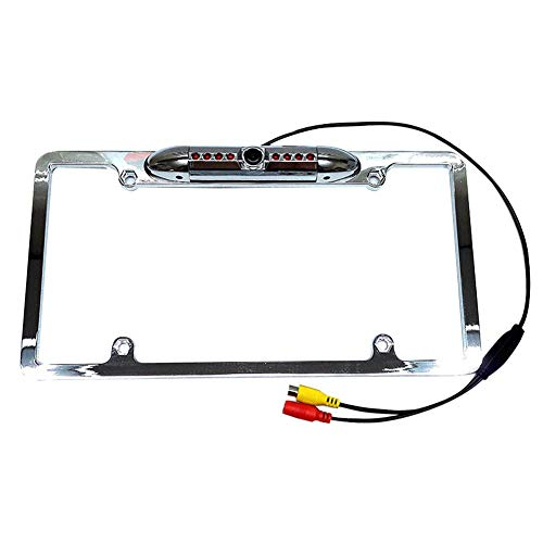 Chengstore Black American License Plate Frame Backup Car Camera HD 170° Viewing Angle Infrared Night Vision Frame License Plate Rear View Camera