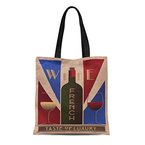 Semtomn Canvas Tote Bag Purple Here Ru Listing 508712887 French Wine Old Durable Reusable Shopping Shoulder Grocery Bag