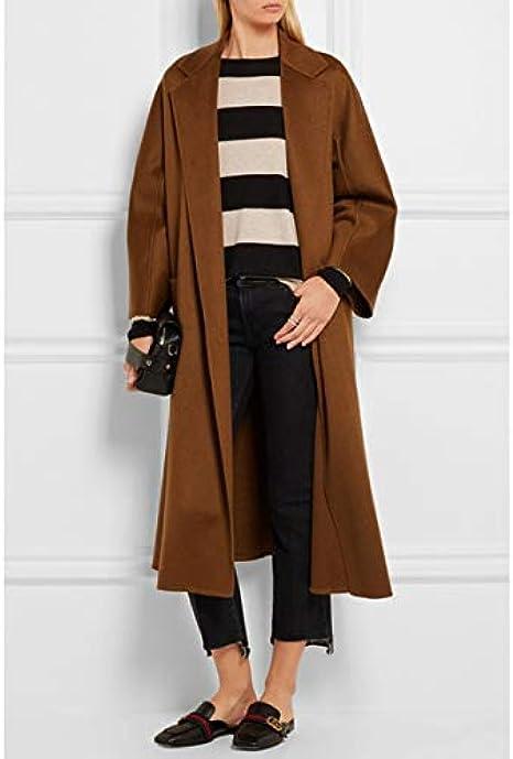 maxsmarts 2019 Spring//Autumn Women Notched Woolen Robe Long Coat Female Outerwear