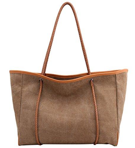Super moderno lienzo tamaño grande bolso de mano Totes Hobos de la mujer y bolsas de hombro Messenger Bag, mujer, beige café