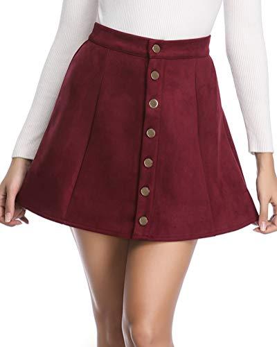 fuinloth Women's Faux Suede Skirt Button Closure A-Line High Wasit Mini Short Skirt 2019 Wine