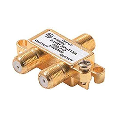 2-Way Splitter F Type Coaxial Gold 5 - 900 MHz Mini Gold Plate 75 Ohm H Type Cable MATV Signal UHF/VHF Signal Antenna Coaxial Cable - 900 Mhz Splitter