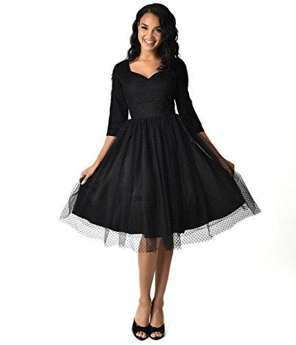 Unique Vintage 1950s Style Black Swiss Dot Half Sleeve Elson Mesh Dress (Dot Swiss Dress)