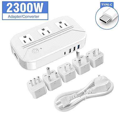 Croztek Voltage Converter 2300W Step Down 220V/240V to 110/120V International Travel Adapters Power Transformer Set w/USB Type-C Quick Charge Ports EU Cable UK/AU/IT/US/South Africa Plugs - White