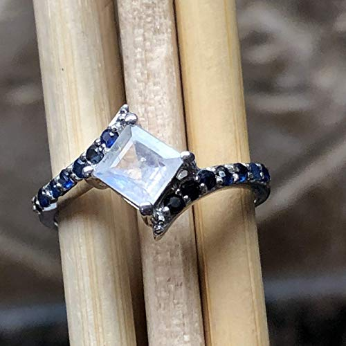 Natural Rainbow Moonstone, Blue Sapphire 925 Solid Sterling Silver Filigree Engagement Ring sz 6, 8, 9