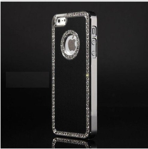 G4GADGET® Iphone 5C Deluxe Black brushed aluminum diamond case bling cover for iphone 5C