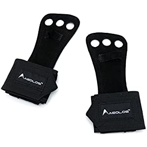 AEOLOS Leather Gymnastics Hand Grips with Wrist Wraps, Great for Gymnastics,Pull up, Crossfit WOD, Chin up, Kettlebell Training and Weight Lifting|Free Carry Bag