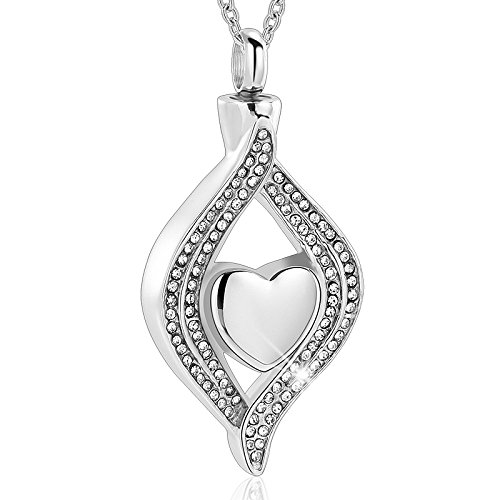 The Eye of My Heart Cremation urn Keepsake Memorial Jewelry for Urn Locket Stainless Steel Ashes Pendant & Free 20 Inches Chain (Sliver)