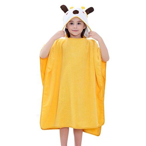 MICHLEY Hooded Baby Unisex Beach Bath Poncho Towel, Soft Cotton Animal Kids Bathrobe for 2-6 Years, 27.5
