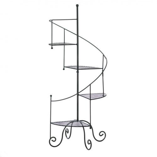 Spiral Staircase Design Plant Stand or Metal Display Shelf Unit with Four Shelves (4 Tier) in Decorative Flower Pot Holders Home & Garden Decor