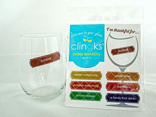 Thanksgiving Glass (Clingks 12 Drink Markers - I'M THANKFUL FOR - Fun Thanksgiving Wine Charm Alternative)