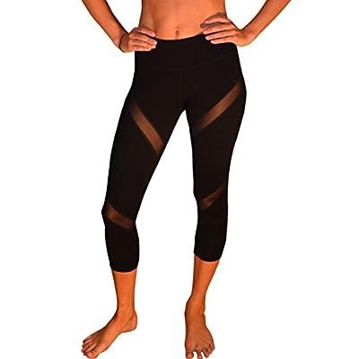 Yoggir Mesh Capri Yoga Pants Women's Workout Leggings Spiral by free shipping