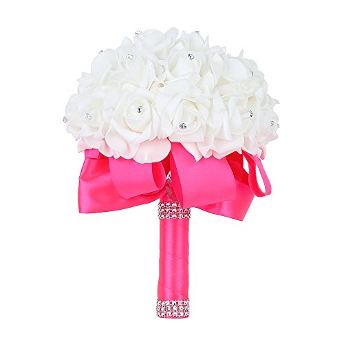 Febou Wedding Bouquet, Big Size Bridesmaid Bouquet Bridal Bouquet with Crystals Soft Ribbons, Artificial Rose Flowers for Wedding, Party and Church (Deep Pink, Big - Deep Flower Pink