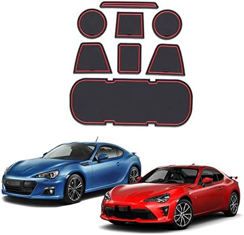 Monland Anti-Slip Car Door Rubber Cup Cushion Red Gate Slot Pad for 86 BRZ GT86 FT86 FR-S 2012~2019 Mat Accessories