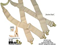 "Hold-Ups 1 1/2"" wide Undergarment Hidden Pant Suspenders with 4 Plastic Gripper Clasps"