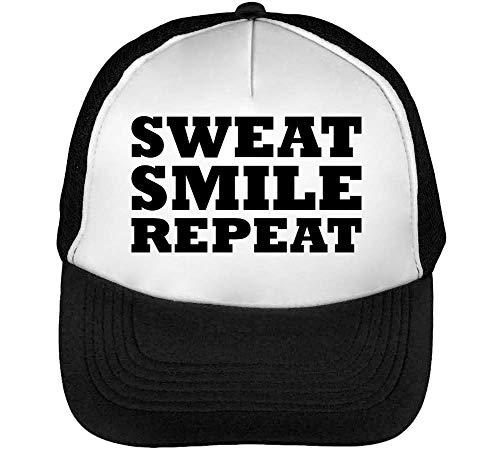 1GD Sweat Smile Repeat Gorras Hombre Snapback Beisbol Negro Blanco