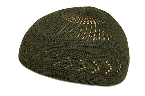 (100% Cotton Skull Cap Chemo Kufi Under Helmet Beanie Hats in Solid Colors and Stripes (Dark Green with Arrow Design))