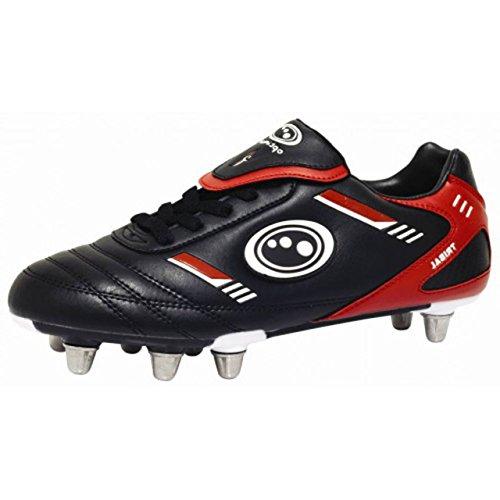 Botas de Rugby lobulado Optimum Tribal 6 pies superior de cuero sintético suave tacos zapatos