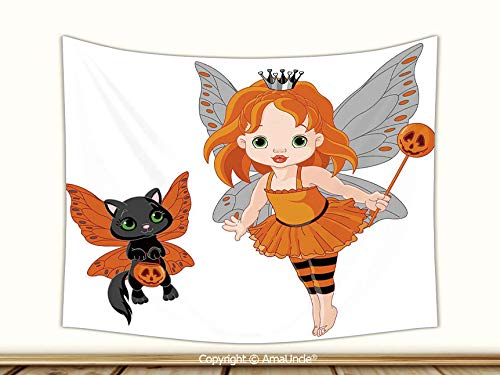 AmaUncle Beautiful Tapestry with 3D Printed Pattern, Stylish Halloween Baby Fairy and Her Cat in Costumes Butterflies Girls Kids Room Decor Decorative Wall Hanging,60Wx40L Inch,Wall Art for -