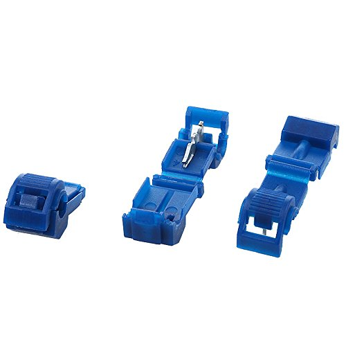 AIRIC 100pcs Nylon T-Tap Wire Splice Connector Blue Tap In Quick Splice Self-stripping 16-14 Gauge Electrical Wire Crimp Terminals