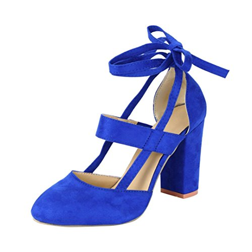 Pumps Blue Ladies Toe Heeled Shoes Wrap Summer Buckle Womens Sandals Ankle Sandals Pointed Inkach fwq4x1nO