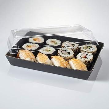 Bandeja de cartón para sushi con tapa incluida 180x130x30 m - Caja