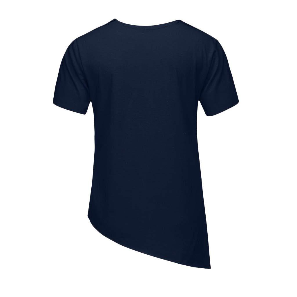 Lazzboy Uomo T-Shirt Top Diagonal Stripes Estate Solid Plain Asimmetrica Hem Manica Corta o-Collo Camicetta Maschile