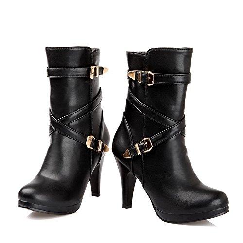 AllhqFashion Damen Hoher Absatz Rein Rund Zehe Reißverschluss Stiefel mit Metallisch Schwarz