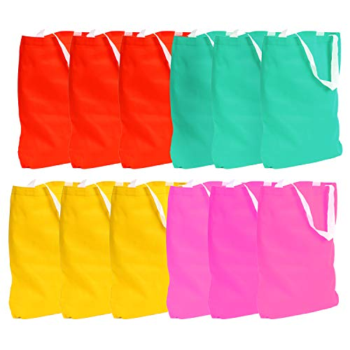 Neon Canvas Tote Bag - 12 pieces Bright Grocery Shopping Duck Bags, Gift Purse, Beach Saddlebag, School Handbags - Perfect for Moms, Travelers, Students and DIY Crafters