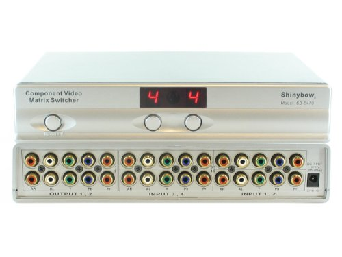 Video Switcher Component - Shinybow USA 4x2 4:2 Component RCA Video Audio Matrix Switch Switcher Splitter SB-5470