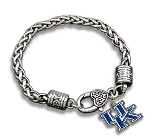 Kentucky Wildcats Silver Toned UK Logo Charm Bracelet