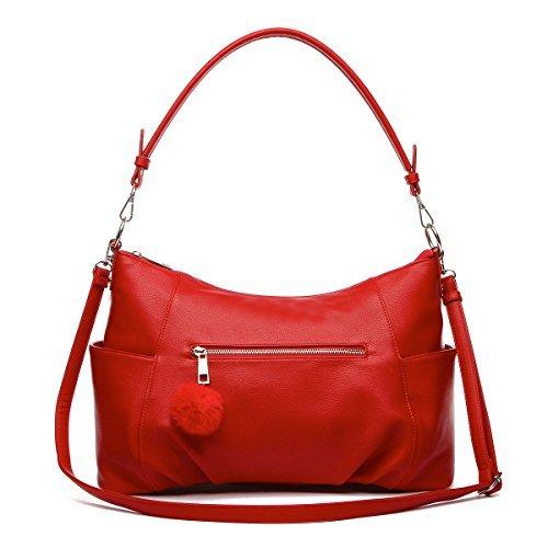Hobo Style Front Pocket Shoulder Bag with Pom-Pom