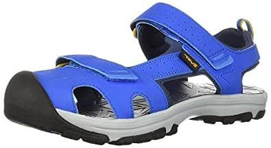 Teva Boys' Y Hurricane Toe PRO Sport Sandal, Dazzling Blue, 4 M US Big Kid