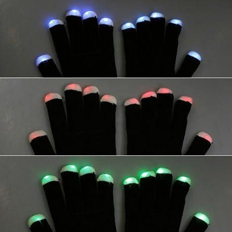 best website a1ddd 3258a 7 Mode LED doigt de lumière d éloge éclairage clignotant Gants Glow pour  les concerts, raves, clubs, hip-hop, etc (noir)  Amazon.fr  Bricolage