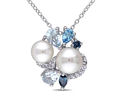 White Freshwater Cultured Pearl, London, Swiss and Sky Blue Topaz, Created Synthetic White Sapphire Cluster Pendant Necklace Sterling Silver