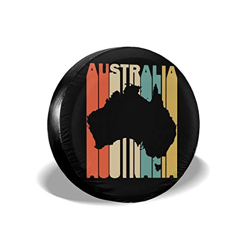 Ybdr94K@ Spare Tire Cover Retro Style Australia Silhouette Sun Protector Universal Wheel Covers for Trailers, RV, SUV, Trucks and Many Vehicle, 14