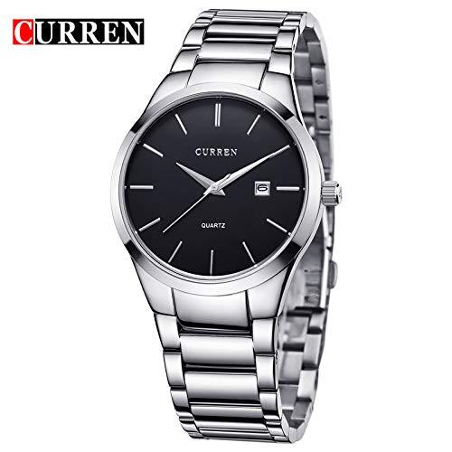 MOZISEN Relojes de Vestir Reloj Curren 8106 Reloj de Hombre con Correa de Acero, para