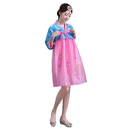 [Ez-sofei Women's Korean Traditional Costume Short Hanboks XL Blue&Pink] (Korean Culture Costume)