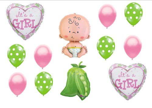 Pea in a Pod Baby Girl shower Balloon Decorating Kit Supplies -
