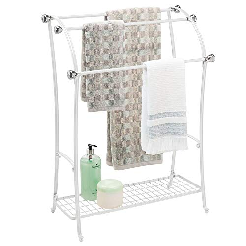 - mDesign Large Freestanding Towel Rack Holder with Storage Shelf - 3 Tier Metal Organizer for Bath & Hand Towels, Washcloths, Bathroom Accessories - White/Brushed Steel