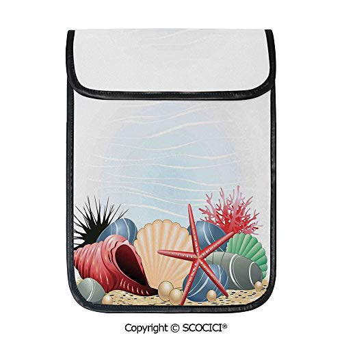 (SCOCICI Tablet Sleeve Bag Case,Seashells Starfish and Coral Underwater Sea Life Seaside Art Prints Decorative,Pouch Cover Cases for iPad Pro 12.9 in and Any Tablet)