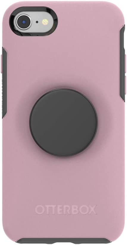 Otter + Pop for iPhone SE, 7 and 8: OtterBox Symmetry Series Case with PopSockets Swappable PopTop - Mauvelous and Aluminum Black