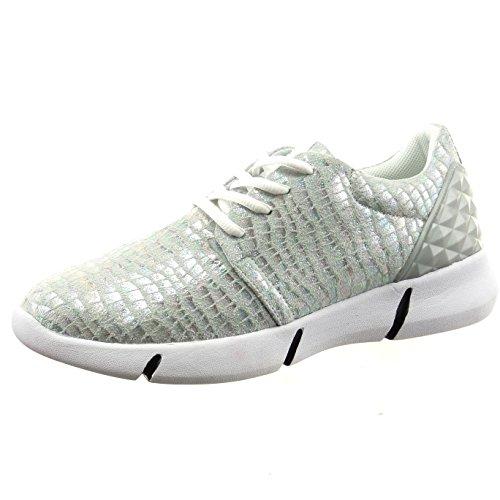 Sopily - Scarpe da Moda Sneaker alla caviglia donna lucide pelle di serpente Tacco a blocco 3.5 CM - Argento