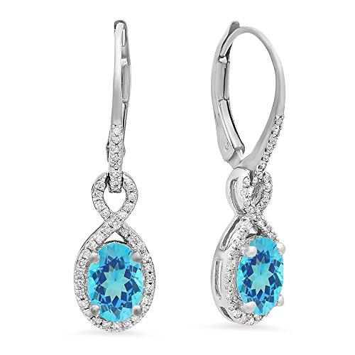 10K White Gold Oval Blue Topaz & Round White Diamond Ladies Infinity Dangling Earrings