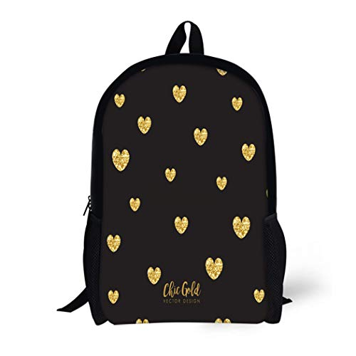 Shape Clipart Heart - Pinbeam Backpack Travel Daypack Wedding Modern Chic Gold Heart Shape Abstract Black Waterproof School Bag