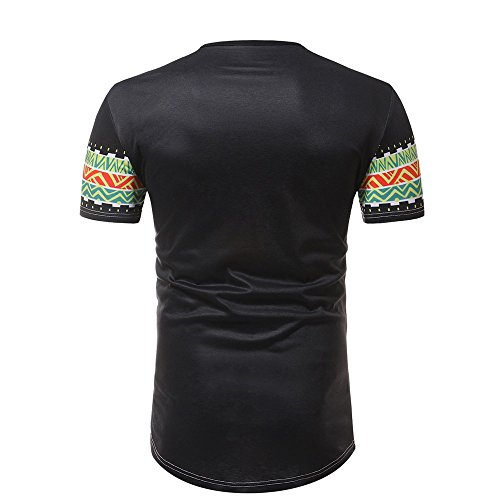 O Courte African Slim Fit Chic Cou Chemise Casual Noir Muscle Haut Tops Manche Bohême shirt T Tee Impression Amlaiworld Hommes fYwgqpxA